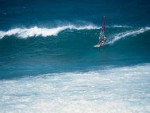Windsurfer compeeting at Hookipa beach Maui Royalty Free Stock Image