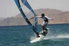 Windsurfer in Dahab. Extreme. Stock Photos