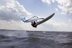 Windsurfer doing a nose landing Royalty Free Stock Photography