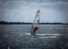 Windsurfer on Dutch lake, Netherlands Royalty Free Stock Photo