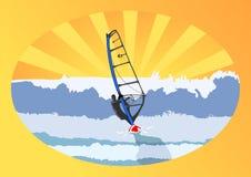 Windsurfer e sole Immagini Stock Libere da Diritti