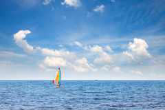 Windsurfer en mer Photo stock
