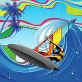 Windsurfer en ola oceánica grande Imagenes de archivo
