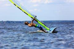 Windsurfer falls Stock Photos