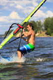 Windsurfer falls Stock Photography