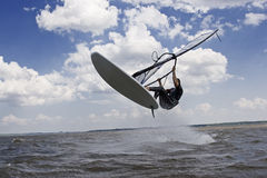 Windsurfer flying in the air Royalty Free Stock Photos