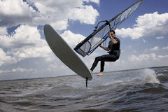 Windsurfer flying in the air Royalty Free Stock Photography