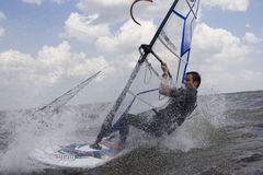 Windsurfer at full speed Royalty Free Stock Photos