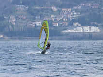 Windsurfer fun in a day of Breva Stock Photography