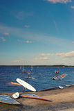 Windsurfer getting ready to sail from the shores of Lake Stock Photography