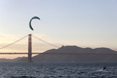 Windsurfer at Golden Gate Bridge Stock Photo