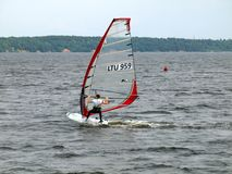 Windsurfer at Kaunas sea on June 14, 2013 in Kaunas, Lithuania Stock Images