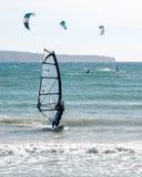 Windsurfer and kites in Can Pastilla Mallorca Stock Image