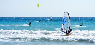Windsurfer and kitesurfer Royalty Free Stock Photo