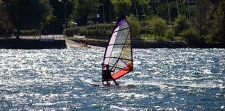 WindSurfer in Lake Como Stock Image