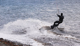 Windsurfer making a giant turn Stock Image