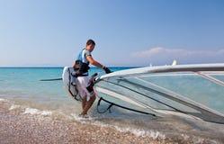 Windsurfer on Mediterranean sea. Greece. Rhodes Royalty Free Stock Image