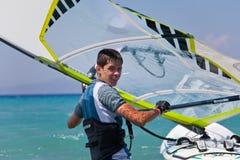 Windsurfer on Mediterranean sea- portrait. Windsurfer on Mediterranean sea. Greece. Rhodes Stock Photography