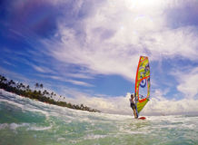 Windsurfer in the ocean fish eye effect Stock Photo