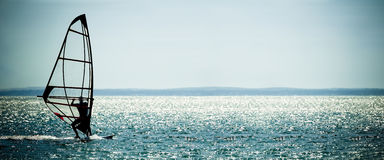 Windsurfer panorama royalty free stock photos
