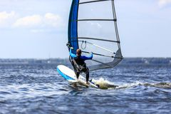 Windsurfer passing by Royalty Free Stock Images