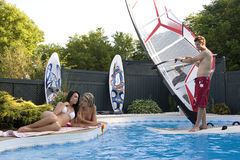 Windsurfer in pool Royalty Free Stock Photo