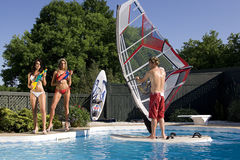 Windsurfer in pool Royalty Free Stock Image