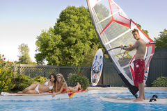 Windsurfer in pool Stock Image