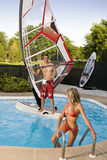 Windsurfer in pool Stock Images