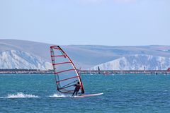 Windsurfer in Portland Harbour royalty free stock photo