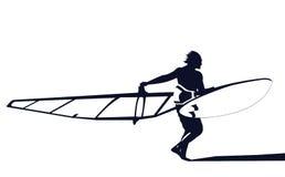 Windsurfer pronto para montar Fotografia de Stock Royalty Free