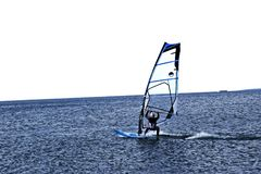 Windsurfer quickly glides over the blue sea. There is a place for text. royalty free stock photography
