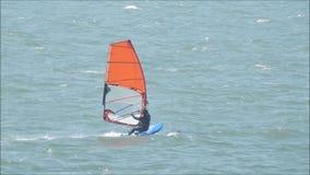 Windsurfer sailing surfer stock footage