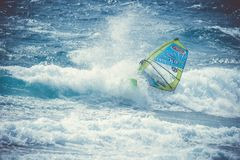 Windsurfer Sanchez Omar inside a wave during the windsurf world cup stock photo