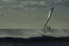 Windsurfer, Sanxenxo, 27 octobre 2012 Images stock