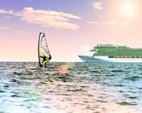 Windsurfer in the sea with a cruise ship on backgroung. Pink toned, lens sun flare, sun on blue sky. Active sport vacation concept.  Royalty Free Stock Images