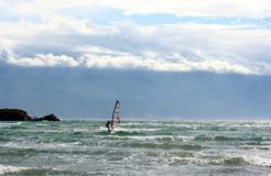 Windsurfer on a sea water Stock Photography