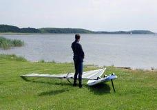 Windsurfer seul photographie stock