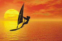 Windsurfer silhouette. Water sport with susnet windsurfer silhouette Vector Illustration