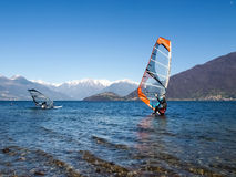 Windsurfer start from the beach Stock Image