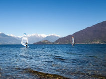 Windsurfer start from the beach Stock Photo
