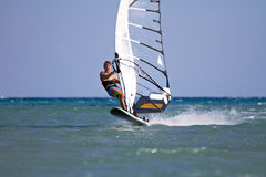Windsurfer starting a jump Stock Photography
