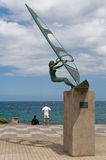 Windsurfer statue in Pozo Izquierdo. Gran Canaria, Royalty Free Stock Photography