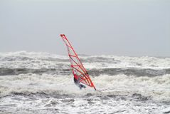 Windsurfer on stormy waves Stock Photos