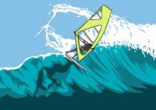 Windsurfer su una grande onda Immagini Stock Libere da Diritti