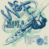Windsurfer on windsurfing board with wave on graphic background, vector template. Cartoon, flat style, silhouette, lettering. vector illustration