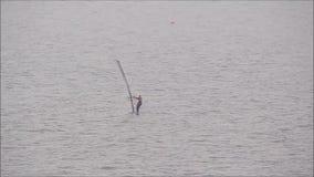 Windsurfer windsurfing on ocean stock video footage