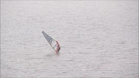 Windsurfer windsurfing on ocean stock video