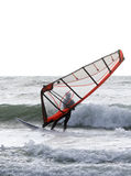Windsurfer on a windy stormy day Stock Image