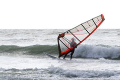 Windsurfer on a windy stormy day stock images